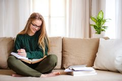 A happy young female student sitting on sofa, studying. royalty free stock photo