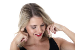 Happy Young With Fingers in Ears Woman Thinking Stock Photography