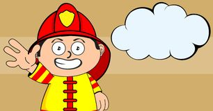 Happy young firefighter kid cartoon background. Cute young firefighter kid cartoon background in vector format Stock Images