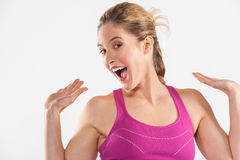Happy young fitness girl stock photo