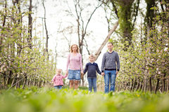 Happy young four member family standing together outdoors in the orchard Royalty Free Stock Photo