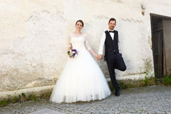 Happy young fresh married couple Stock Photos