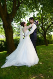 Happy young fresh married couple royalty free stock photos