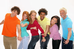 Happy young friends. Group of happy young friends - lined up Royalty Free Stock Photos