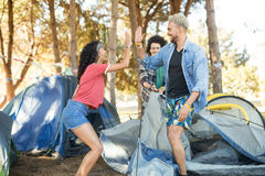 Happy young friends giving high five while setting up tent Royalty Free Stock Photo