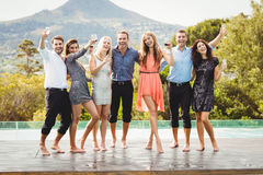 Happy young friends having drinks Royalty Free Stock Photography
