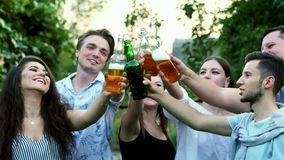 Happy young friends having fun together drinking beer and clinking glasses stock video footage