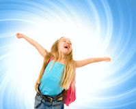 Happy young girl. With a pink backpack over abstract blue background Royalty Free Stock Photo