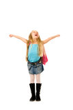 Happy young girl. With a pink backpack Royalty Free Stock Photo