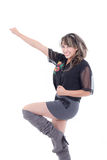 Happy young girl with arm and leg up Stock Photography