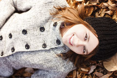 Happy young girl. Autumn beauty Royalty Free Stock Images