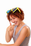 Happy young girl with big sunglasses Royalty Free Stock Photos
