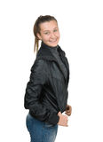Happy young girl in a black leather jacket Stock Images