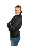 Happy young girl in a black leather jacket Stock Photo