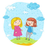 Happy young girl cartoon characters Royalty Free Stock Images