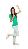 Happy young girl celebrating something Stock Image