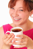 Happy young girl with a cup of tea Royalty Free Stock Images
