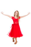 Happy young girl dances Royalty Free Stock Photos