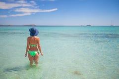 Happy young girl enjoy tropical beach vacation Stock Photos