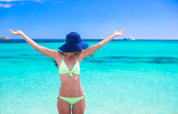 Happy young girl enjoy tropical beach vacation Royalty Free Stock Photography