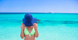 Happy young girl enjoy tropical beach vacation Stock Images