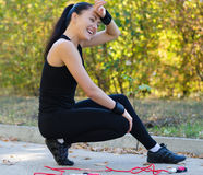 Happy young girl after excercise Stock Photography