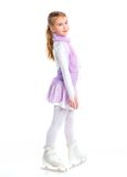 Happy young girl figure skating.Isolated. Royalty Free Stock Image