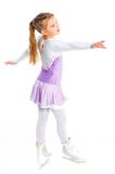 Happy young girl figure skating.Isolated. Stock Image
