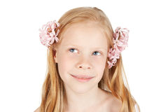 Happy young girl with flowers in hair Royalty Free Stock Photos
