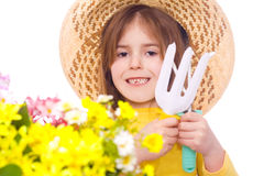 Happy young girl gardening Royalty Free Stock Images