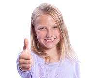 Happy Young Girl Giving Thumbs-up. Isolated on White Stock Images
