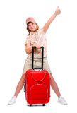 Happy young girl going on vacation Stock Images