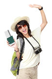 Happy young girl going on vacation. Portrait of happy young girl bring backpack and pasport Royalty Free Stock Photos