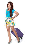 Happy young girl going on vacation Stock Image
