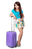Happy young girl going on vacation Royalty Free Stock Image