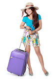 Happy young girl going on vacation Stock Photo