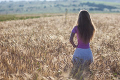 Happy young girl in golden wheat field. Young woman enjoying nat Stock Photo