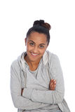 Happy Young Girl In Gray Jacket with Arm Crossed Stock Images