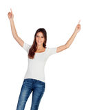 Happy young girl with her arms up Stock Photography