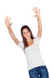 Happy young girl with her arms up Royalty Free Stock Photos