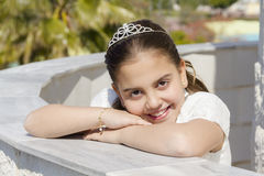 Happy Young girl in her First Communion Royalty Free Stock Photography