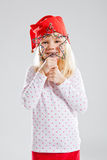 Happy young girl holding Christmas star decoration Stock Images