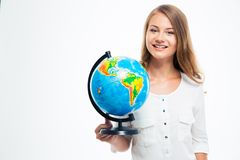 Happy young girl holding globe Royalty Free Stock Photography