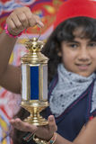 Happy Young Girl Holding Lantern Celebrating Ramadan Royalty Free Stock Photography