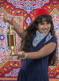 Happy Young Girl Holding Ramadan Lantern Royalty Free Stock Photos