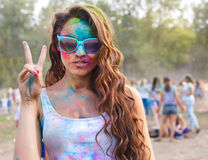 Happy young girl on holi color festival. Portrait of happy young girl on holi color festival Royalty Free Stock Photo