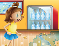 A happy young girl inside the store selling sodas. Illustration of a happy young girl inside the store selling sodas vector illustration