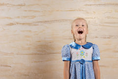 Happy Young Girl Isolated on Wooden Wall Royalty Free Stock Image