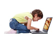 Happy young girl with laptop Royalty Free Stock Photography
