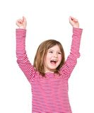 Happy young girl laughing with arms raised. Close up portrait of a happy young girl laughing with arms raised on isolated white background Stock Photos